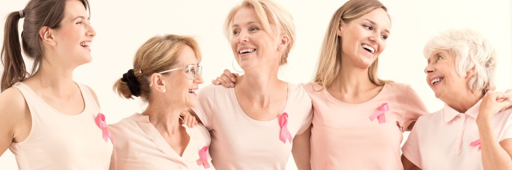 Women with breast cancer ribbons