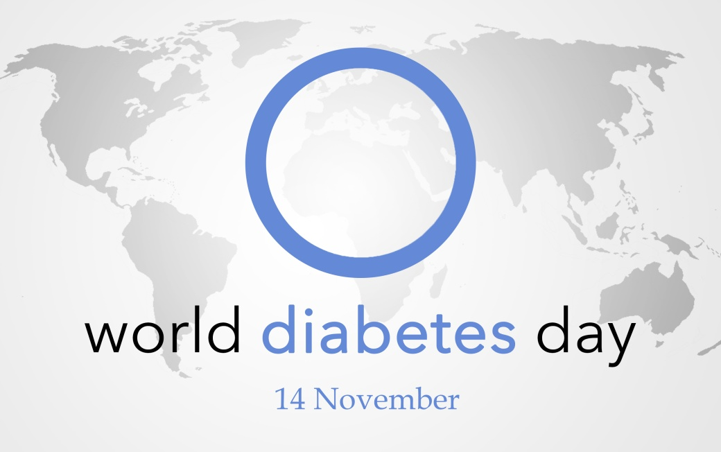 World diabetes day, background with world map, 14 november.